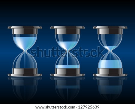 Water falling in the hourglass in three different states. Vector illustration - stock vector