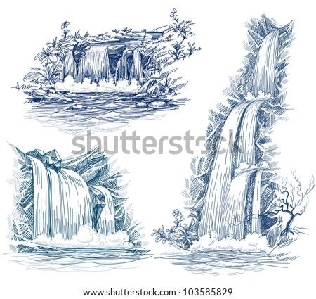 Water falls vector drawing - stock vector