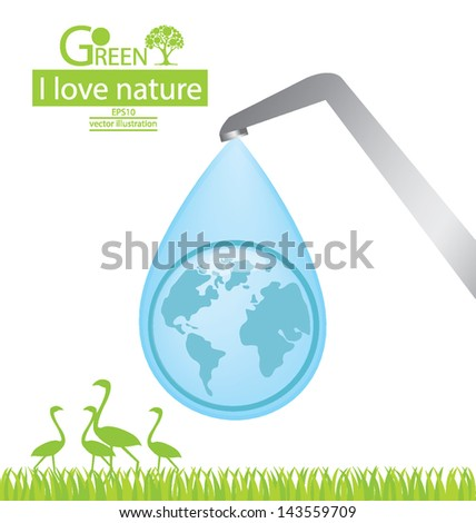 Water faucet. Go green. Save world. vector illustration. - stock vector