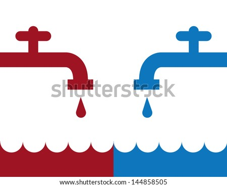 Water faucet hot and cold silhouettes  - stock vector