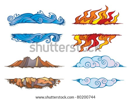 Water, Fire, Earth and Air: set of the four elements of nature in the shape of ornamental frames, vector illustration - stock vector
