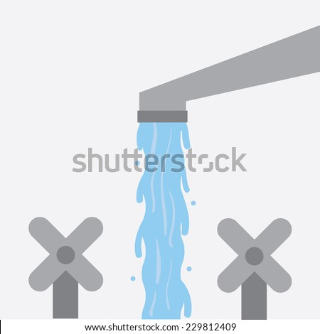 Water flowing from sink faucet  - stock vector