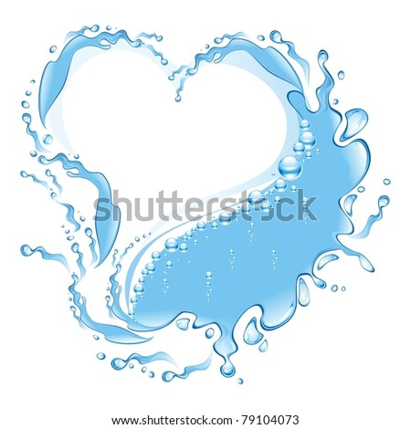 Water frame in the form of heart . (vector illustration) - stock vector