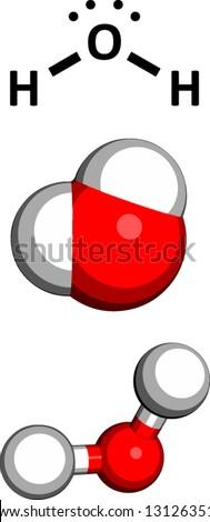 Water (H2O), molecular model. Three representations: 2D skeletal formula, 3D space-filling model and 3D ball-and-stick model. - stock vector