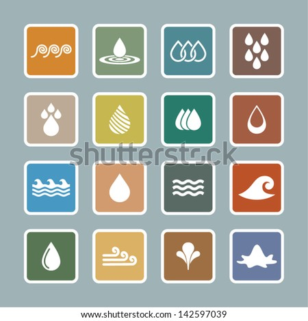 Water icon set - stock vector