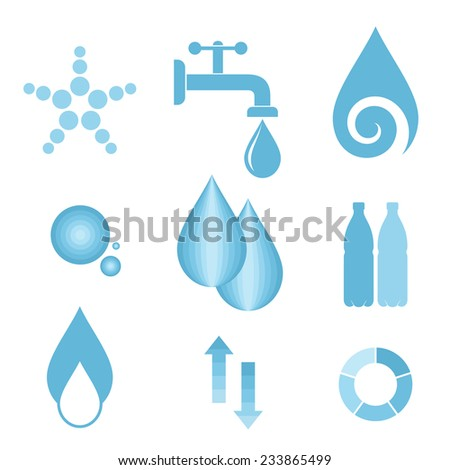 Water. Icon set. Flat. Isolated on white background