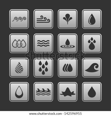 Water Icon Set. Vector Illustration. - stock vector