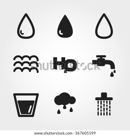 water icons - stock vector
