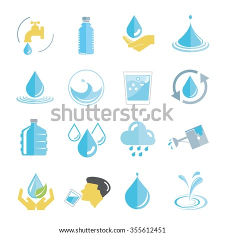 water icons set, drinking water icons - stock vector