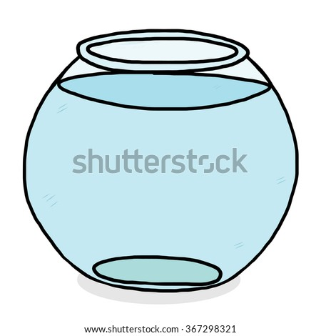 water in glass bowl / cartoon vector and illustration, hand drawn style, isolated on white background. - stock vector