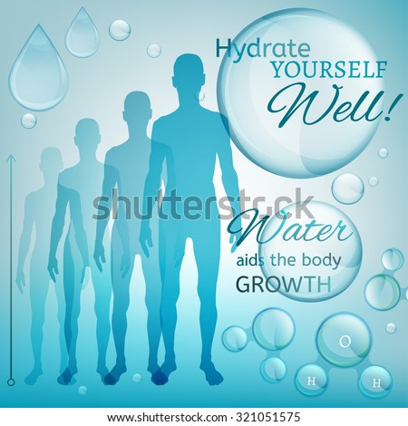 Water is the driving force of all nature. Vector illustration of bio infographics with human body growth scheme in transparent style. Medicine and biochemistry concept. Keep your body healthy - stock vector