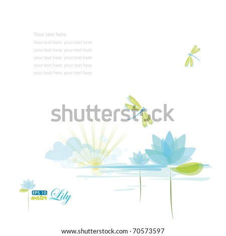 Water Lily and dragonfly, nature background, eps-10 - stock vector