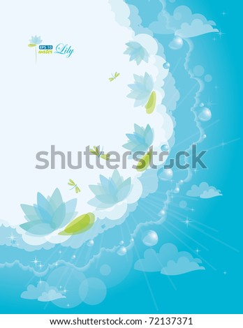 Water lily background, eps-10 - stock vector