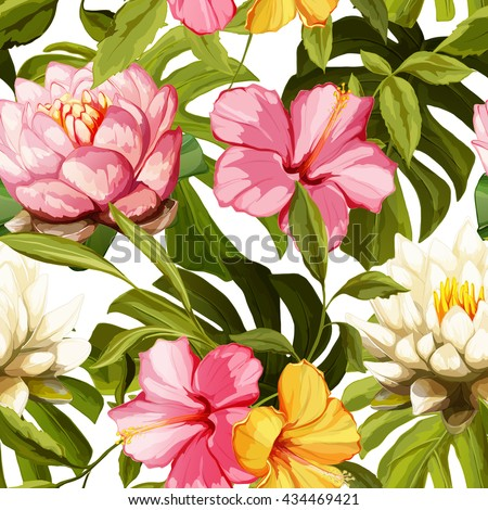 Water lily, chinese roses with leaves on white. Seamless background pattern. Hand drawn elements. Vector - stock. - stock vector