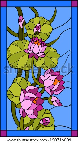 Water lily composition / Stained glass window - stock vector
