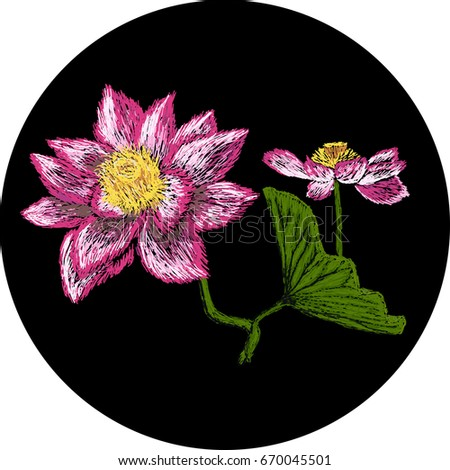 Water Lily Embroidery Classical Embroidery Lotus Stock Vector ...