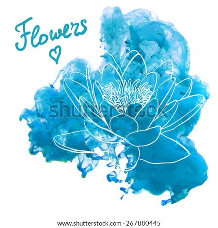 Water lily flowers on a watercolor background. Decorative floral illustration  - stock vector