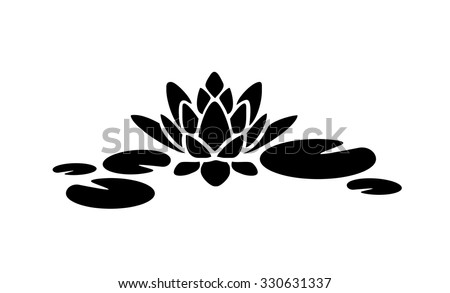 Water Lily Lotus Vector Silhouette Stock Vector 330631337