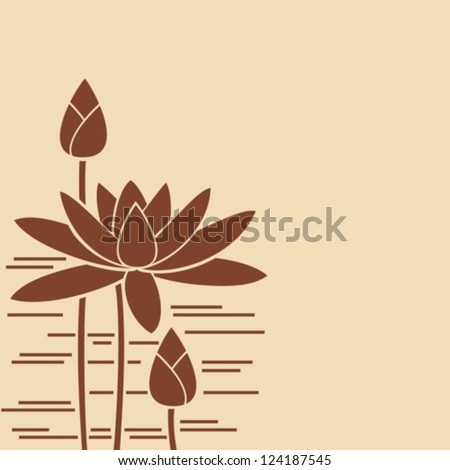 Water-lily of brown color.Vector. EPS-10 (non transparent elements,non gradient). - stock vector