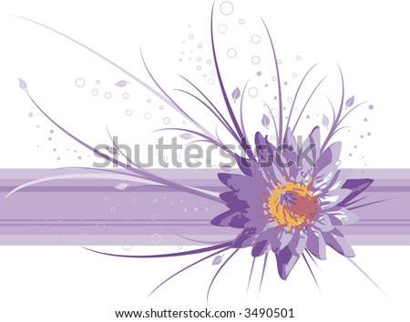 water lily vector background - stock vector