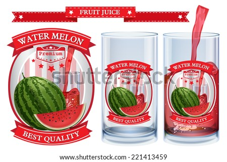 Water melon juice Label vector visual, ideal for fruit juice. Can drawn with mesh tool. Fully adjustable & scalable. Vector illustration  - stock vector