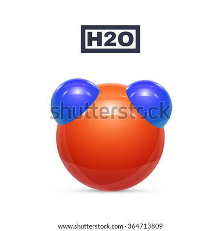 Water molecules isolated on white. Vector illustration - stock vector