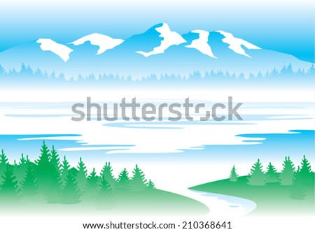 Water - mountains, forest, river, lake