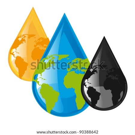 water,oil and fuel raindrops with planet over white background. vector