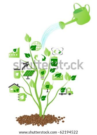 water over green - stock vector