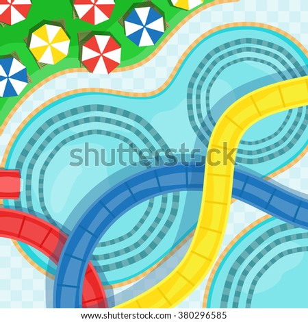 Water park with water slides, swimming pools and sun loungers vector illustration. - stock vector