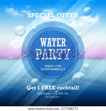 Water party flyer with graphic elements and place for text.  Abstract summer background on a sea subject with sky and  clouds - stock vector