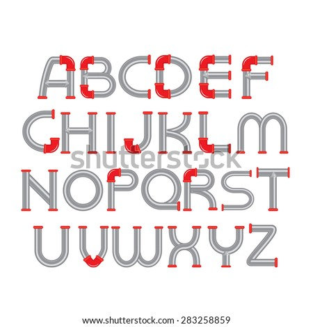 Water Pipe Alphabet with red fittings Character Design Template. Steampunk style. - stock vector