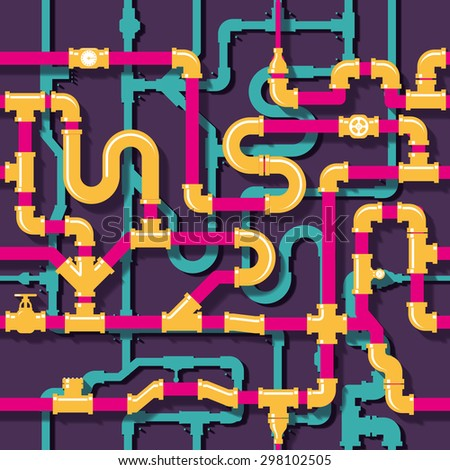 Water piping seamless pattern. Pipeline and tube, industrial construction, vector illustration - stock vector
