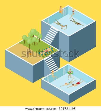 Water pool fun concept. Vector 3d flat isometric poll with people are having fun - stock vector
