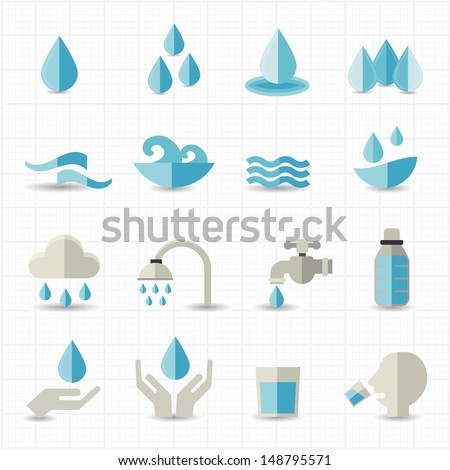 Water related icons - stock vector