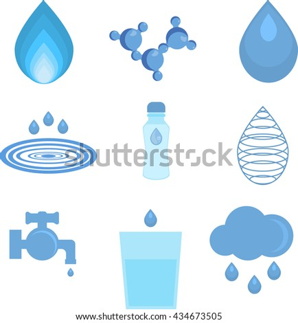 Water related icons set. Set of abstract water icons and water faucet, glass water, water drop, water molecule. Abstract shape aqua environment. Water liquid nature drink design ecology bottle. - stock vector