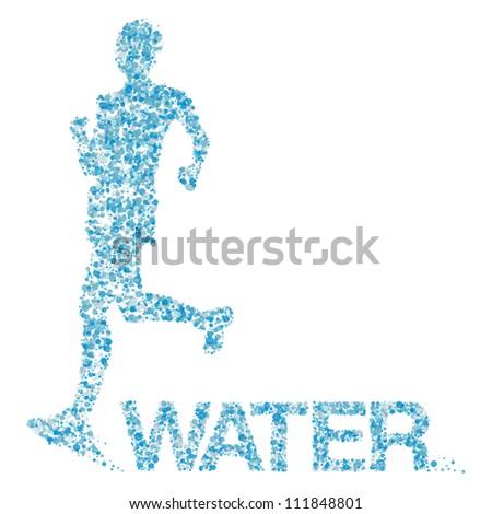 Water runner, vector illustration - stock vector