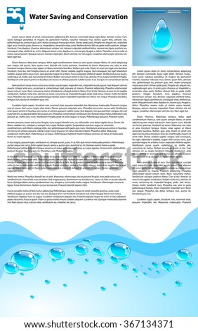 Water Saving and Conservation Template. Filler text and elements - stock vector