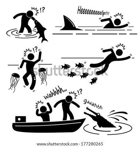 Water Sea River Fish Animal Attacking Hurting Human Stick Figure Pictogram Icon - stock vector