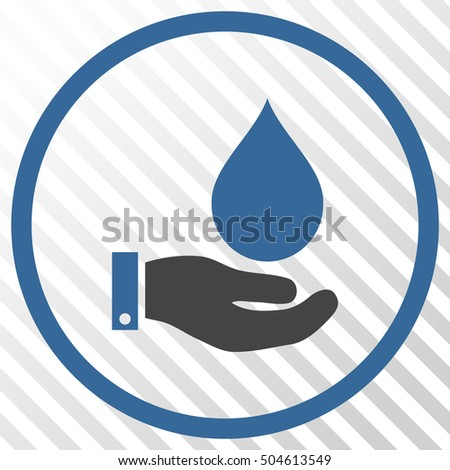 Water Service vector icon. Image style is a flat cobalt and gray pictogram symbol on a hatch diagonal transparent background.