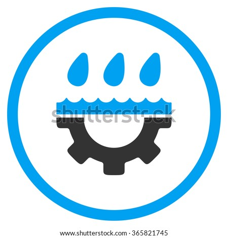 Water Service vector icon. Style is bicolor flat circled symbol, blue and gray colors, rounded angles, white background. - stock vector