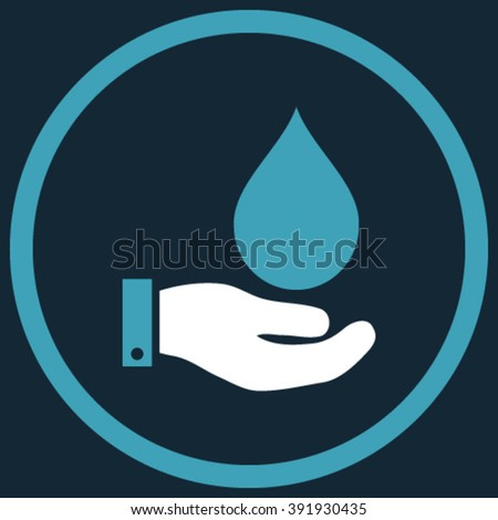 Water Service vector icon. Style is bicolor flat rounded iconic symbol, water service icon is drawn with blue and white colors on a dark blue background.