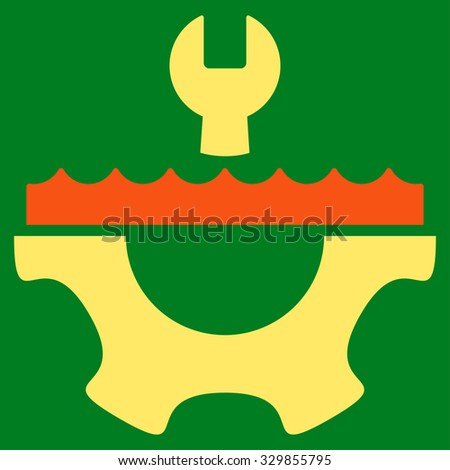 Water Service vector icon. Style is bicolor flat symbol, orange and yellow colors, rounded angles, green background. - stock vector
