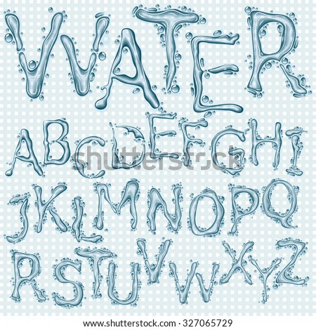 Water splash headline letters  - stock vector
