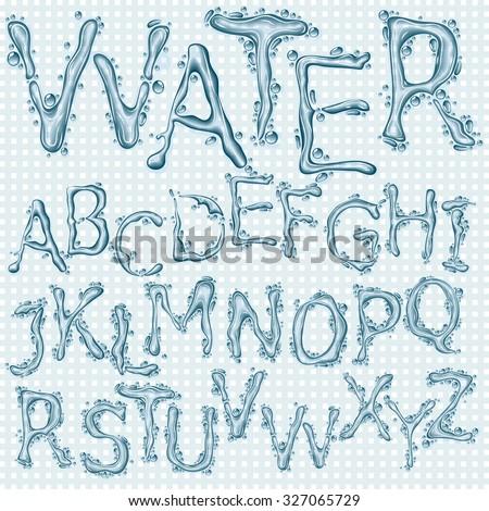 Water splash headline letters  - stock vector