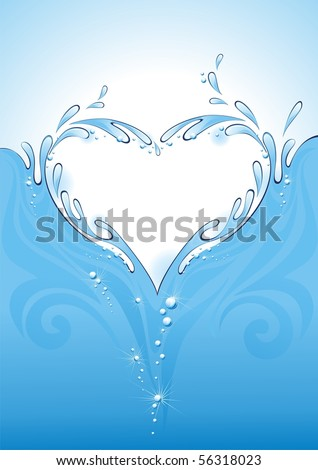 Water splash in the form of heart. (vector illustration) - stock vector