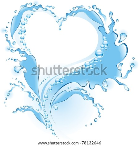Water splash in the form of heart . (vector illustration) - stock vector