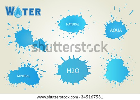 Water splashes set.Splashes vector template. - stock vector