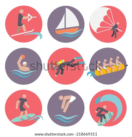 Water sports flat icons set with skiing sailboat wakeboarding isolated vector illustration - stock vector