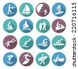 Water sports white icons set with diving sailing windsurfing people isolated vector illustration - stock vector